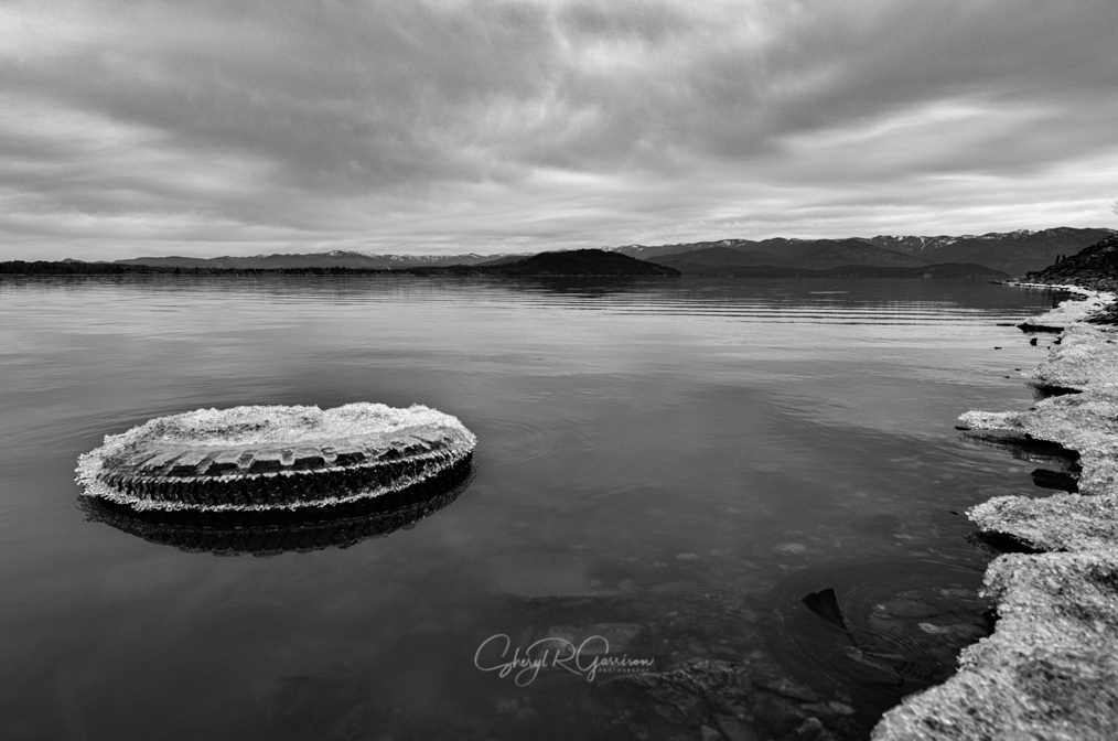 A used tire, coated in ice, litters the surface of Lake Pend Oreille, Idaho while others lurk below the surface.