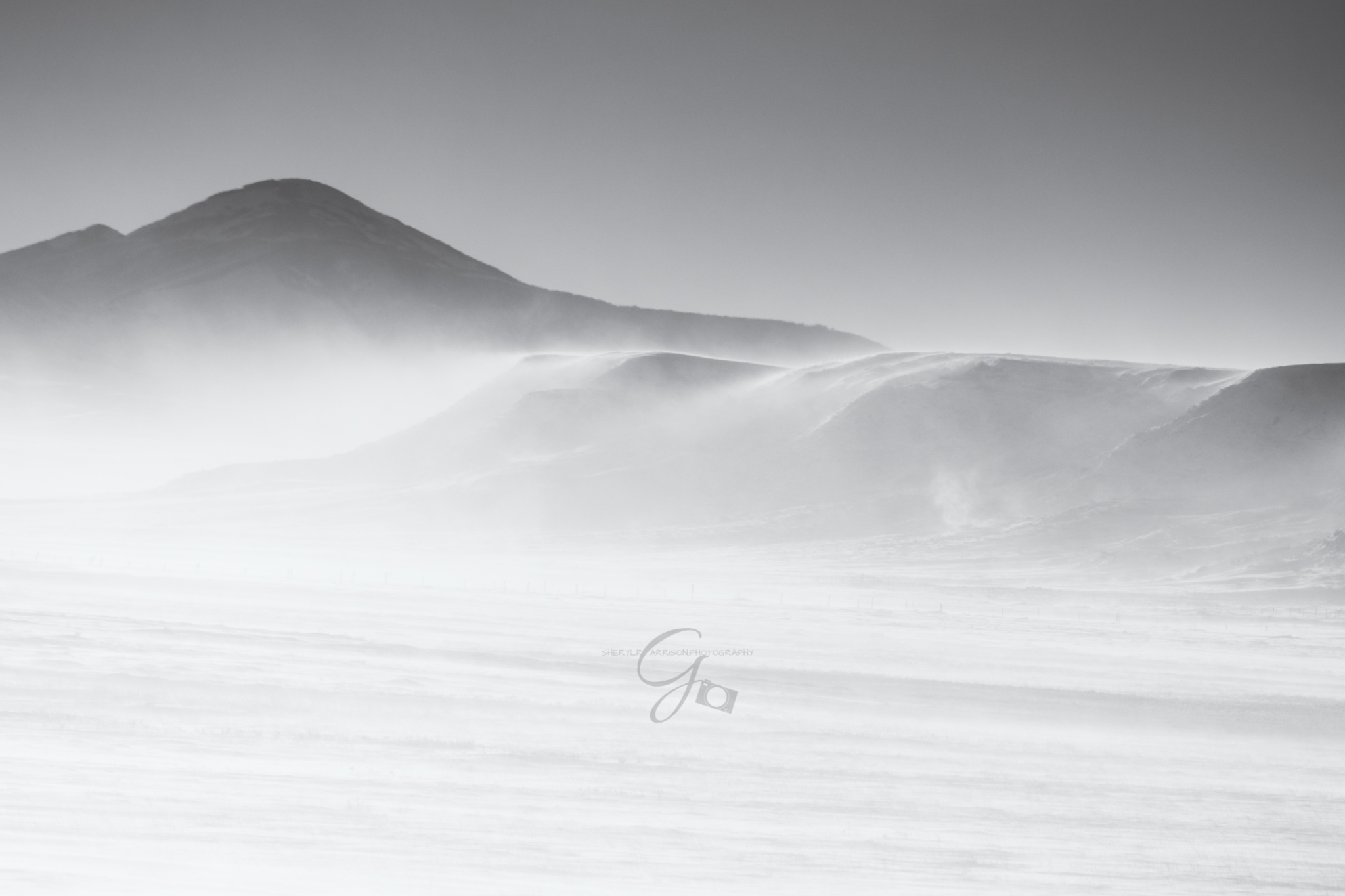 black and white landscape with snow and blowing wind