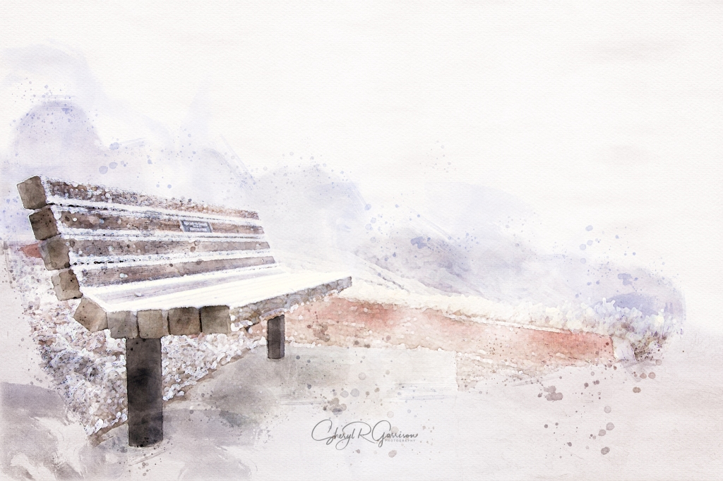 wood bench outdoors water color sketch digital art